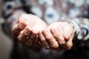Beggar people and human poverty concept - senior person hands be